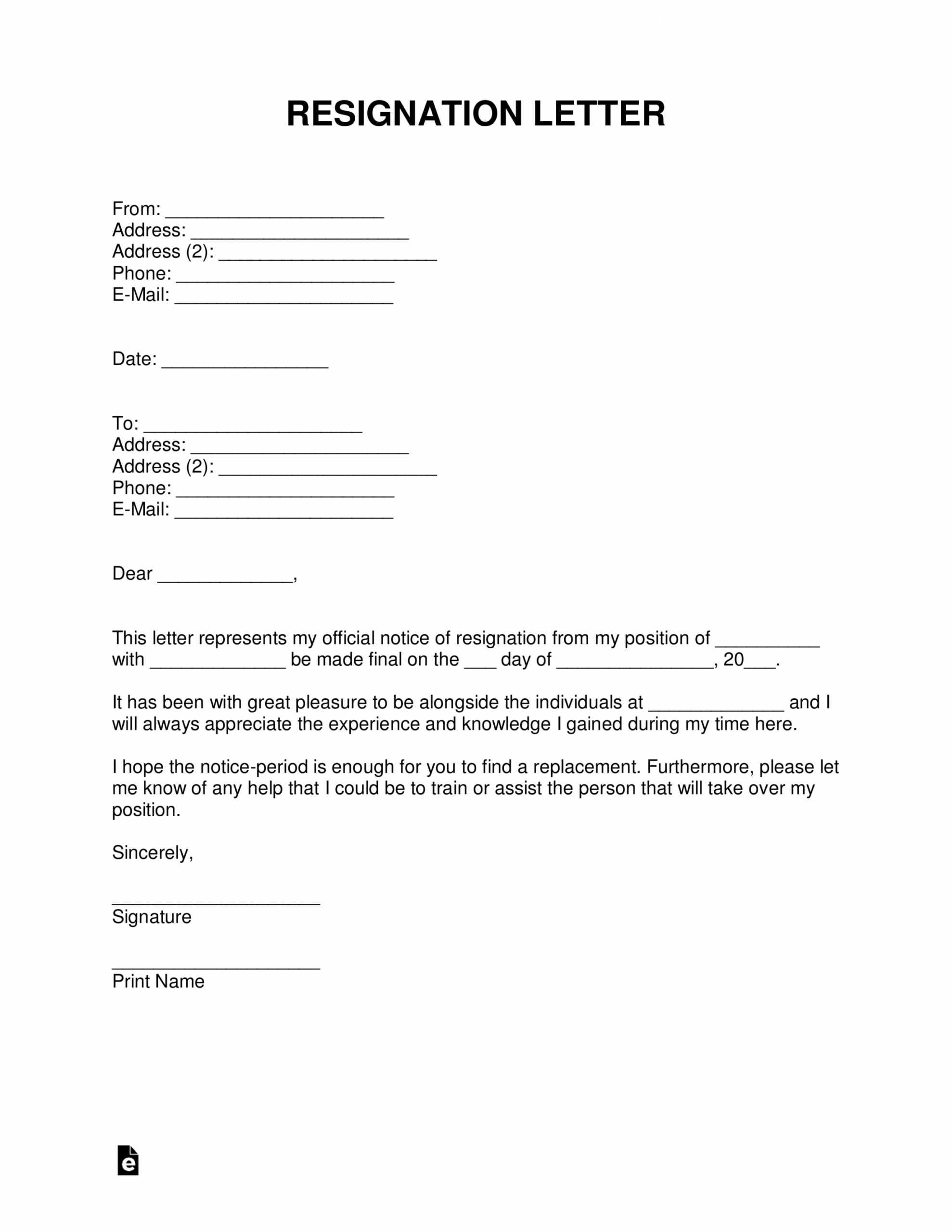 Editable Quick Resignation Letter Doc Example