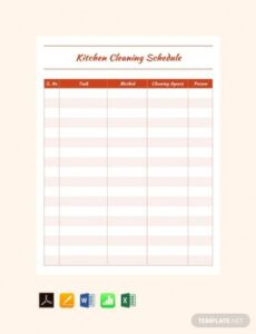 Editable Weekly Cleaning Schedule Template Excel Example