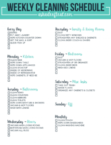 Editable Weekly Cleaning Schedule Template Pdf Example