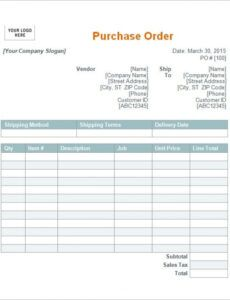 Free Car Purchase Order Form Word Sample