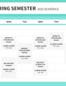 Free College Class Schedule Template Doc Example