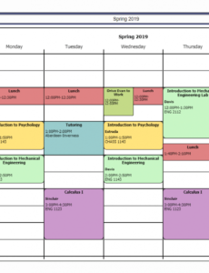 Printable College Class Schedule Template Pdf Example