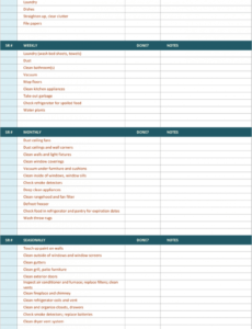 Professional Custodial Cleaning Schedule Template Doc Example