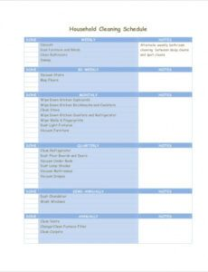 Professional Custodial Cleaning Schedule Template Word