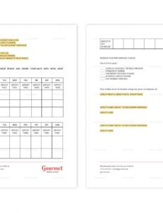 Professional Restaurant Server Schedule Template Pdf Example