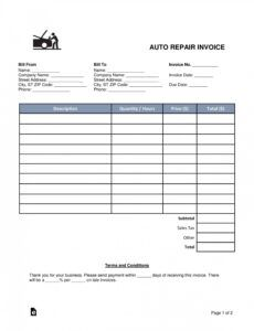 Best Automotive Repair Work Order Template  Example