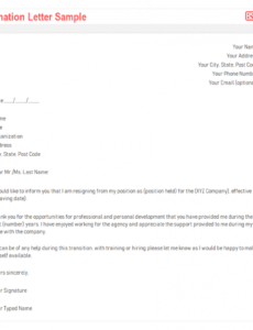 Best Official Resignation Letter Template Excel Example