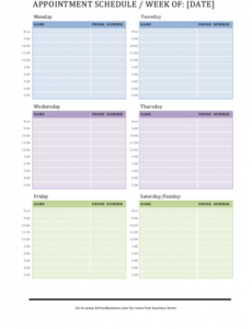 Costum Appointments Schedule Template Excel Sample