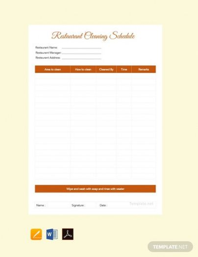 Costum Cleaning Schedule Template For Restaurant Excel Sample
