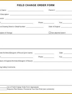 Costum Contract Change Order Template Word Sample
