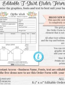 Costum Craft Show Custom Order Form Excel Sample