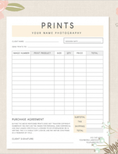 Costum Photo Package Order Form Template Excel Example
