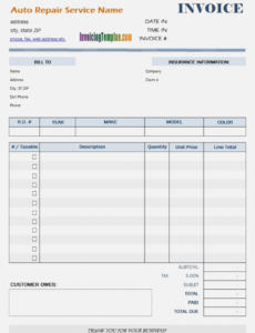 Editable Auto Repair Bill Template Word Sample
