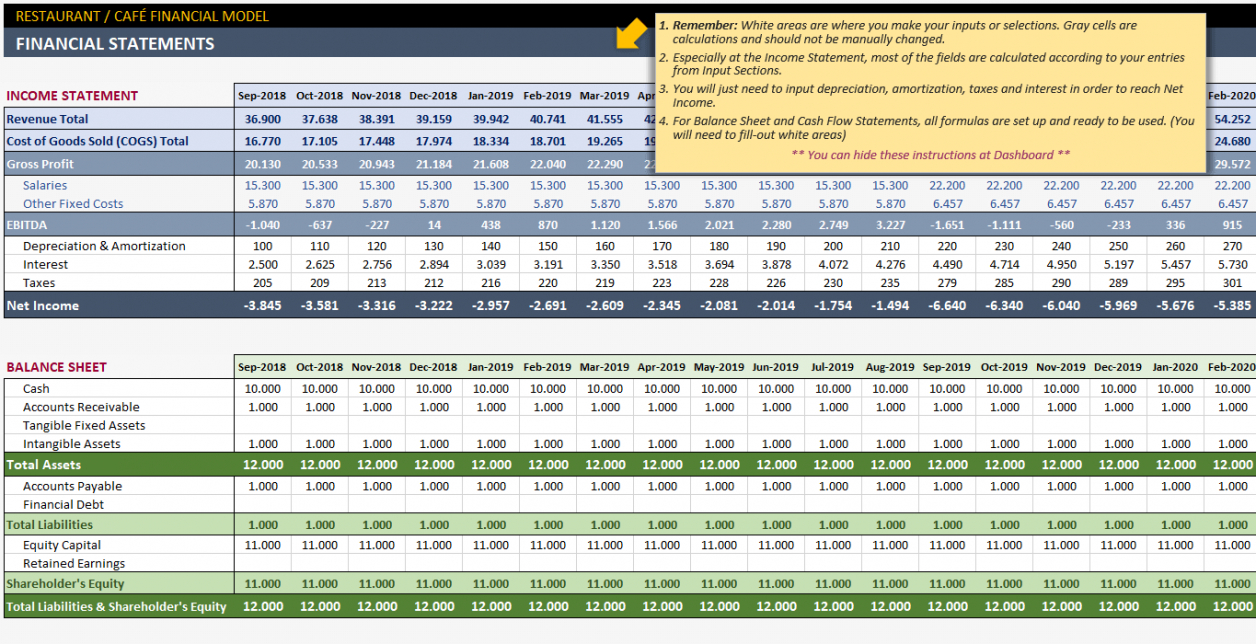 Editable Business Plan Financial Projections Template  Example