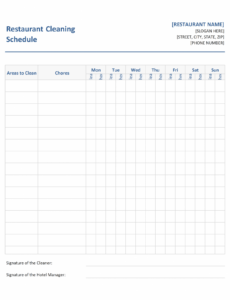 Editable Cleaning Schedule Template For Restaurant Excel