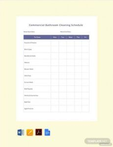 Free Bathroom Cleaning Schedule Template Doc Example
