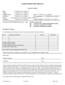Free Change Order Forms Template Pdf