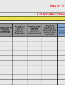 Free Construction Quality Control Plan Template Excel Example