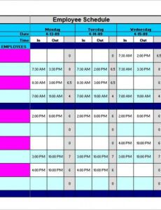 Free Office Work Schedule Template Excel