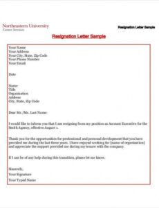 Free Official Resignation Letter Template Word