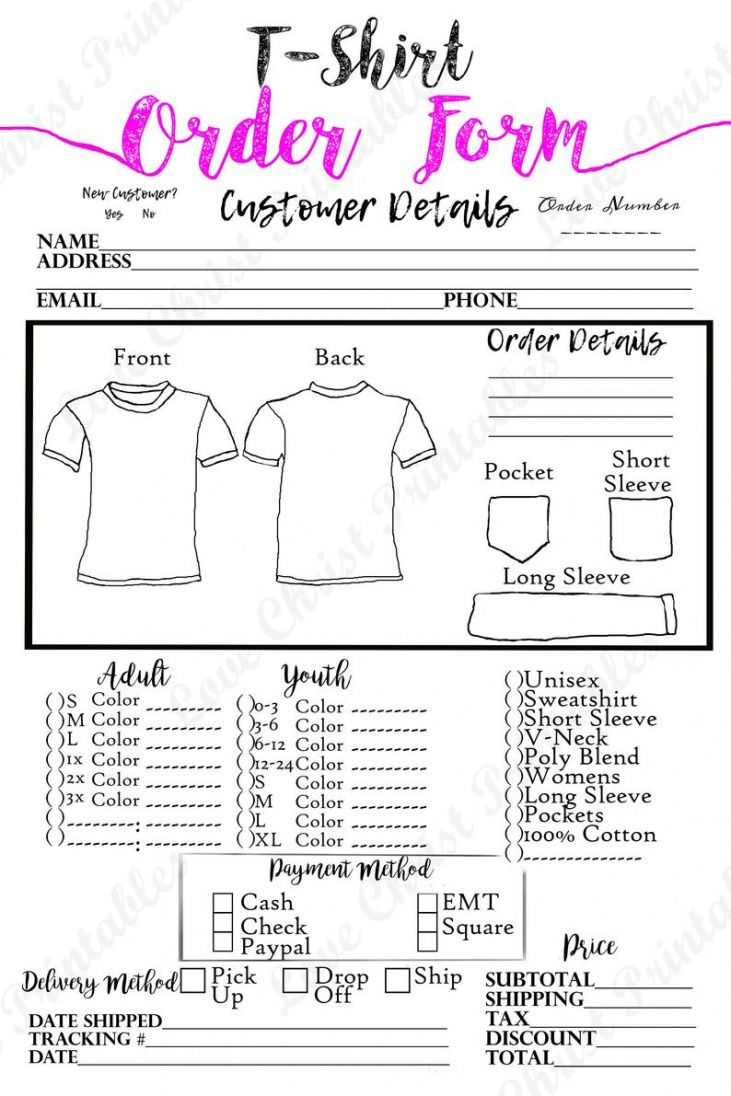 Printable Craft Show Custom Order Form Excel Sample