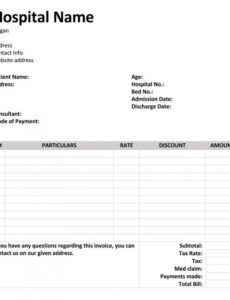 Printable Medical Bill Template Excel