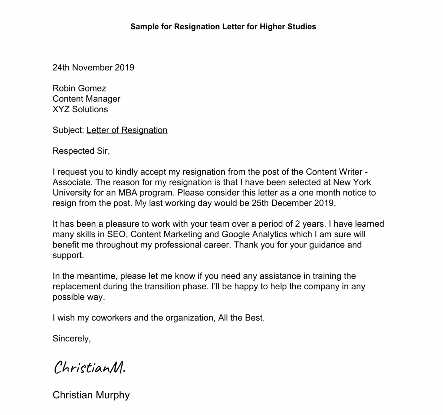 Printable Official Resignation Letter Template Doc Example