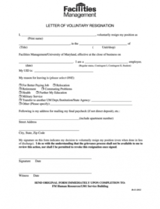 Printable Voluntary Resignation Form Template Doc Sample
