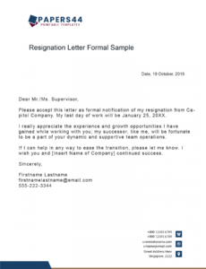 Professional Official Resignation Letter Template Excel