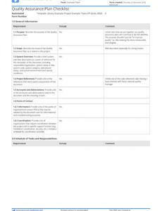 Professional Project Quality Control Plan Template Excel Sample