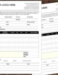 Professional Sports Photo Package Order Form Doc Example