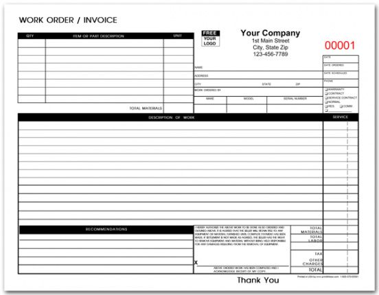 Shop Work Order Template Pdf Example