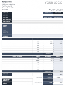 Work Order Form For Maintenance Excel Example