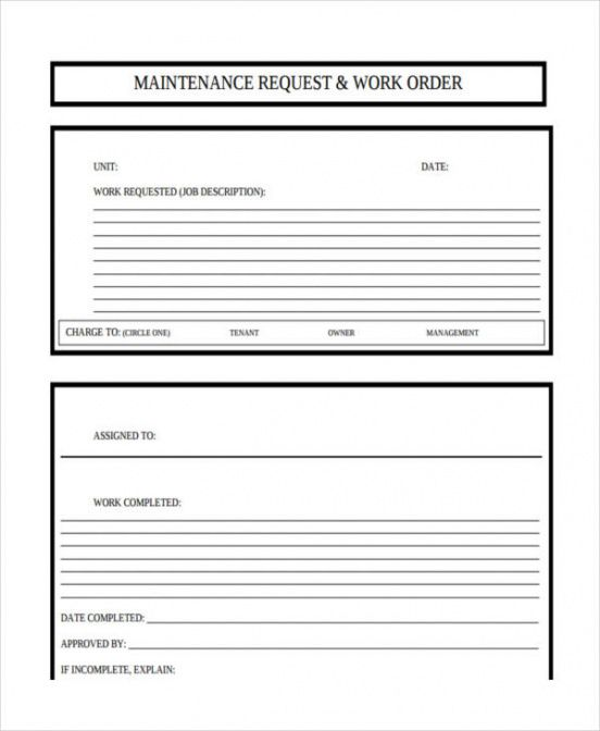 Work Order Form For Maintenance Pdf Example