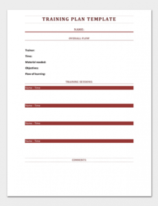 Costum New Employee Training Plan Template Excel