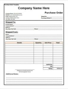 Editable Blanket Purchase Order Template  Example
