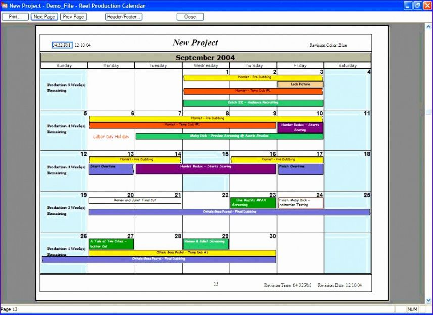 Free Event Production Schedule Template Doc
