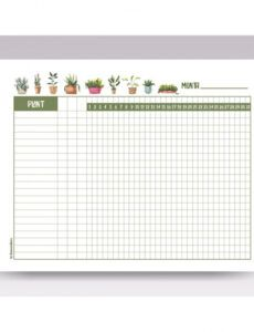 Irrigation Schedule Template  Example