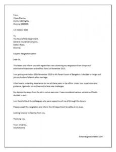 Best Immediate Resignation Letter For Personal Reasons Excel Sample