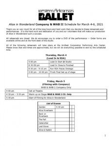 Professional Musical Rehearsal Schedule Template