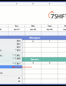 editable how to make a restaurant work schedule with free excel restaurant server schedule template example