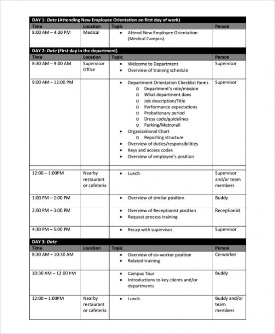 sample training schedule template word  printable schedule template staff training schedule template