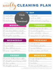 weekly cleaning schedule printable  today's creative life dental office cleaning schedule template