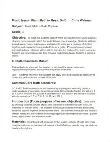 editable 10 best music lesson plan templates  pdf word apple choral lesson plan template word