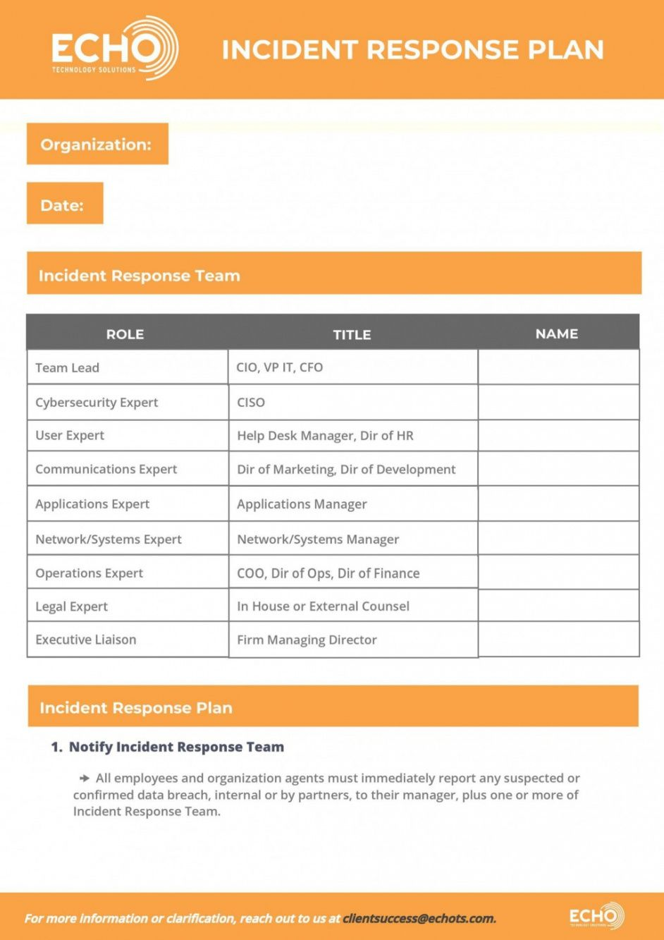 printable cyber incident response plan template ~ addictionary cyber security action plan template doc
