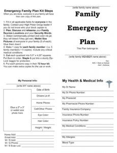 printable mount hood emergency preparedness expo  emergency safety plan template for parents pdf