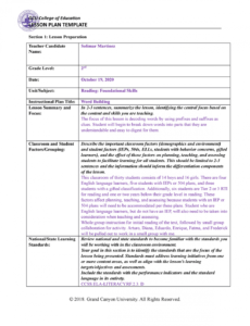 sample elm210benchmark cresting a standards based lesson plan wilson lesson plan template example